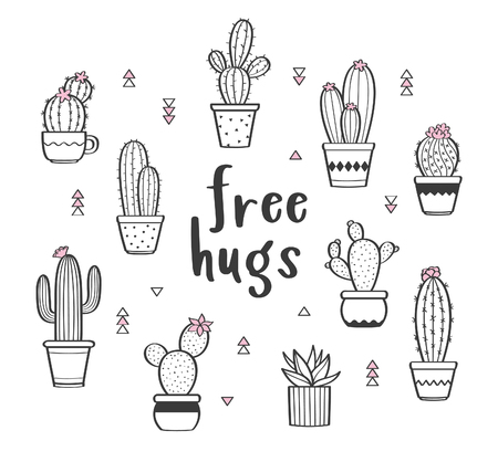 Illustrazione per Vector set with various hand drawn outline cactuses in flowerpots. Cute hand drawn cactus print with inspirational quote isolated on white. Free hugs - Immagini Royalty Free