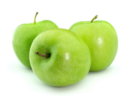 Photo pour Green apples on a white background  - image libre de droit