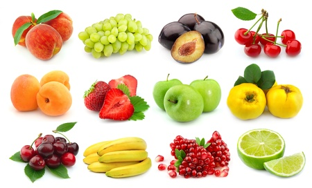 Collage of sweet and juice fruits on white