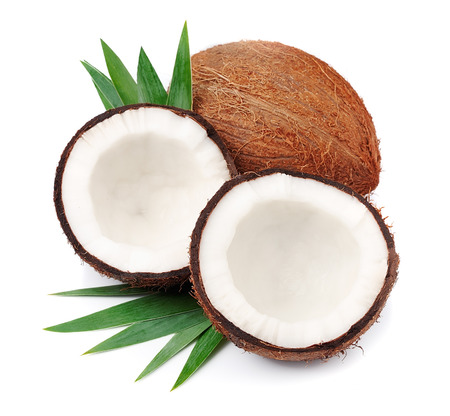Photo for Coconuts with leaves on a white background - Royalty Free Image