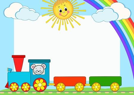Baby train. Children photo framework. Vector illustration.