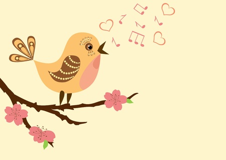 Singing bird on a blossoming branch. Vector illustration.