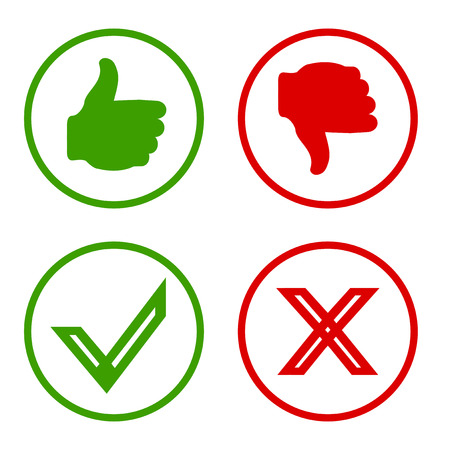 Illustration pour Yes, No, Thumbs up and down icons Like and unlike symbol. Vector - image libre de droit