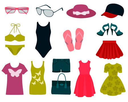 Illustration for Set of summer clothes and accessories. Vector illustration - Royalty Free Image