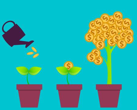 Ilustración de Business investment. Tree with money. Vector illustration - Imagen libre de derechos