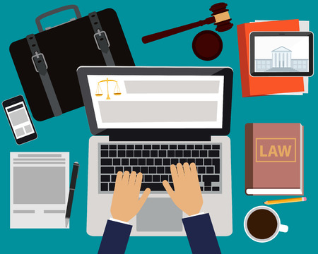 Illustration pour Workplace lawyer. Table with laptop, tablet and mobile phone. Vector illustration - image libre de droit
