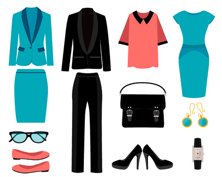 Illustrazione per Set of business clothes for women. Vector illustration - Immagini Royalty Free