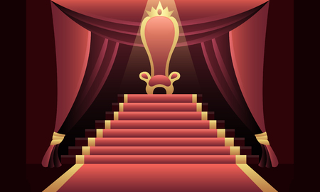 Illustration for Interior of the castle with a throne and a red carpet. Vector illustration - Royalty Free Image