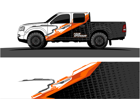Foto de Truck graphic vector. Abstract grunge background design for vehicle vinyl wrap - Imagen libre de derechos