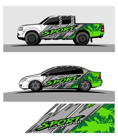 Ilustración de car graphic vector. abstract racing shape design for vehicle vinyl wrap - Imagen libre de derechos