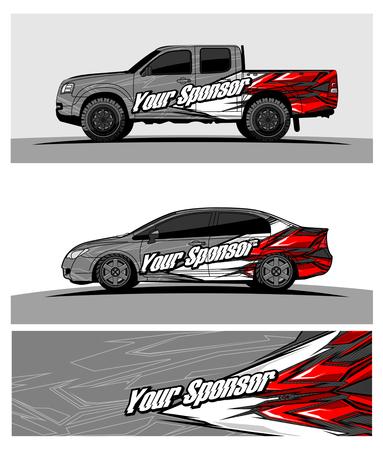 Illustration pour car graphic vector. abstract racing shape design for vehicle vinyl wrap - image libre de droit