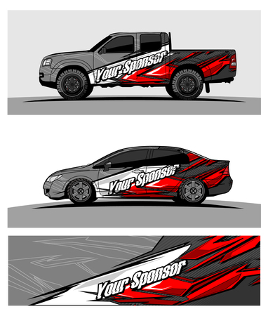 Illustration pour car graphic vector. abstract racing shape design for vehicle vinyl wrap - image libre de droit