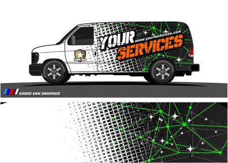 Photo pour Cargo van graphic vector. abstract grunge background design for vehicle vinyl wrap - image libre de droit