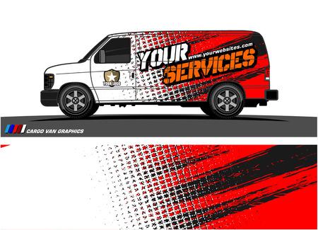Illustration pour Cargo van graphic vector. abstract grunge background design for vehicle vinyl wrap - image libre de droit