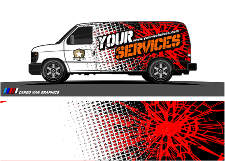 Illustration pour Cargo van graphic vector. abstract grunge background design for vehicle vinyl wrap - image libre de droit