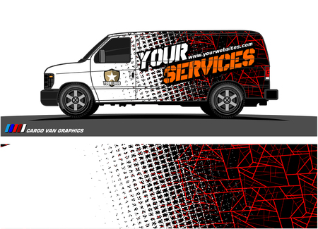 Foto de Cargo van graphic vector. abstract grunge background design for vehicle vinyl wrap - Imagen libre de derechos