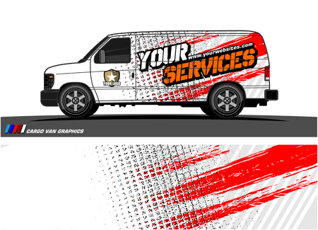 Illustration for Cargo van graphic vector abstract grunge background design for vehicle vinyl wrap. - Royalty Free Image