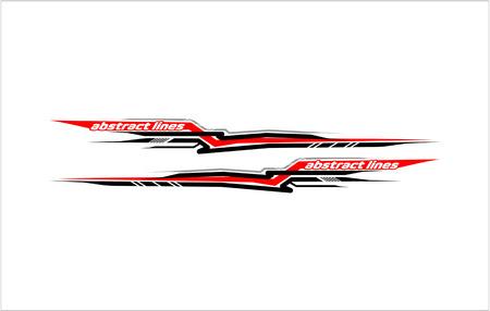 Illustration pour Abstract tech shape lines design for car stripe sticker design. - image libre de droit