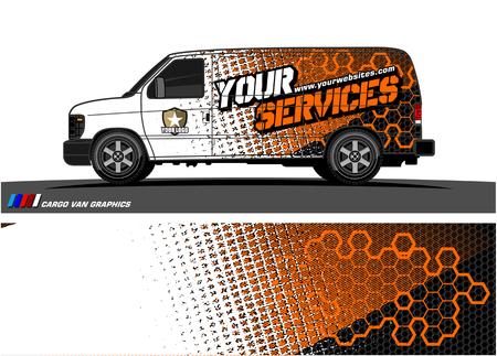 Illustration pour Cargo van graphic vector abstract grunge background design for vehicle vinyl wrap. - image libre de droit