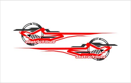 Photo pour Abstract tech shape lines design for car stripe sticker design. - image libre de droit