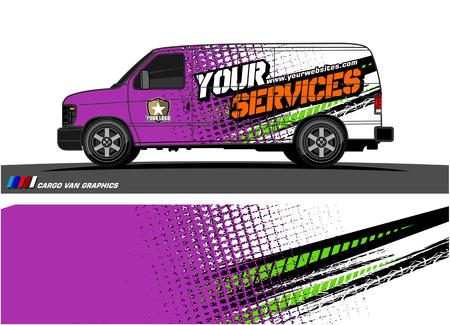 Photo pour Cargo van graphic vector abstract grunge background design for vehicle vinyl wrap. - image libre de droit