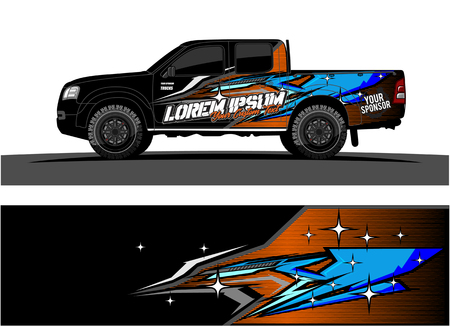 Ilustración de car livery Graphic vector. abstract racing shape design for vehicle vinyl wrap background - Imagen libre de derechos