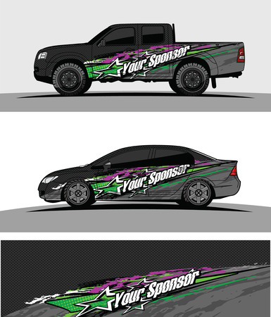 Foto per car livery Graphic vector. abstract racing shape design for vehicle vinyl wrap background - Immagine Royalty Free