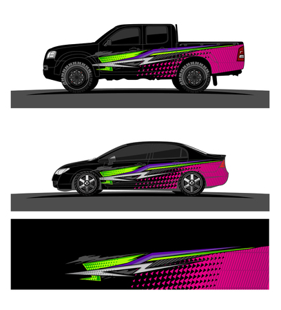 Illustrazione per Car livery Graphic vector. abstract racing shape design for vehicle vinyl wrap background - Immagini Royalty Free