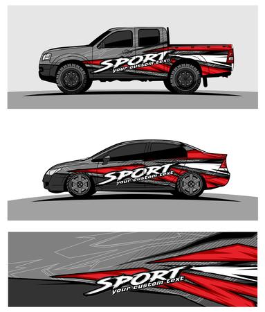 Illustration pour Car livery Graphic vector. abstract racing shape design for vehicle vinyl wrap background - image libre de droit