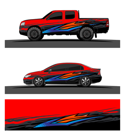 Photo for car livery Graphic vector. abstract racing shape design for vehicle vinyl wrap background - Royalty Free Image