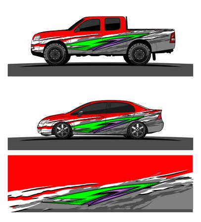 Photo pour Vehicles livery Graphic vector. Abstract racing shape design for vehicle vinyl wrap background - image libre de droit