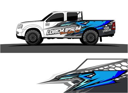 Photo pour pickup Truck Graphic vector. abstract racing shape design for vehicle vinyl wrap background - image libre de droit