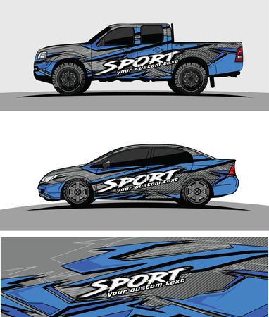 Photo pour pickup Truck Graphic vector. abstract racing shape design for vehicle vinyl wrap - image libre de droit