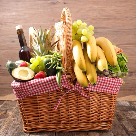 wicker basket with food