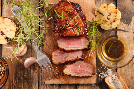 Photo for duck fillet with garlic, herb and sauce - Royalty Free Image