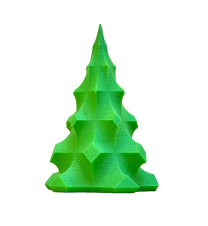 Foto de Bright colorful object printed by 3d printer. Isolated on white background. Automatic three dimensional 3d printer performs plastic green colors modeling in laboratory. Modern 3D printing technology. - Imagen libre de derechos