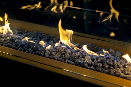 Foto de Modern bio fireplot on ethanol gas close-up - Imagen libre de derechos