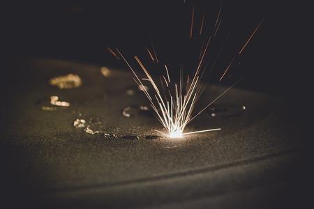 Foto de Laser sintering machine for metal. Metal is sintered under the action of laser into desired shape in working chamber. 3D printer printing metal. Modern additive technologies 4.0 industrial revolution - Imagen libre de derechos