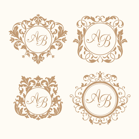 Photo pour Set of elegant floral monogram design templates for one or two letters . Wedding monogram. Calligraphic elegant ornament. Monogram identity for restaurant, hotel, heraldic, jewelry. - image libre de droit