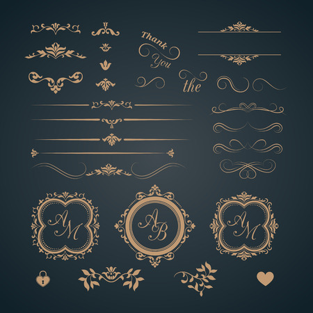 Illustration pour Vintage set of decorative elements. Wedding monograms. Calligraphic elegant ornaments. - image libre de droit