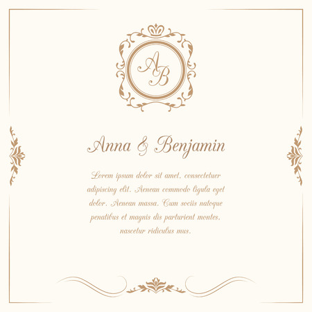 Photo for Invitation card with monogram. Wedding invitation, Save The Date. Vintage invitation template. Vector illustration - Royalty Free Image