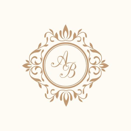 Ilustración de Elegant floral monogram design template for one or two letters . Wedding monogram. Calligraphic elegant ornament. Business sign, monogram identity for restaurant, boutique, hotel, heraldic, jewelry. - Imagen libre de derechos
