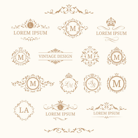 Ilustración de Set of elegant floral monograms and borders. Design templates for invitations, menus, labels. Wedding monograms. Monogram identity for restaurant, hotel, heraldic, jewelry. - Imagen libre de derechos