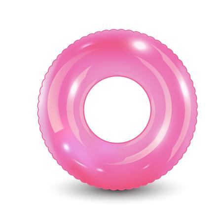 Ilustración de Swim ring. Inflatable rubber toy. Realistic summertime illustration. Summer vacation or trip safety item. Top view swiming circle for ocean, sea, pool. Vector illustration, - Imagen libre de derechos