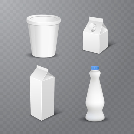 Ilustración de vector illustration of Set of white blank realistic dairy packaging including plastic bottles and carton packets isolated on transparent background - Imagen libre de derechos