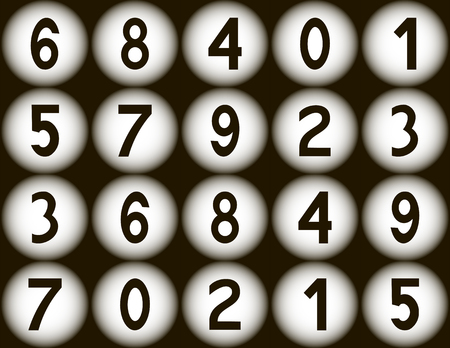 Numbers from one to nine and zero on white balls on the brown background.