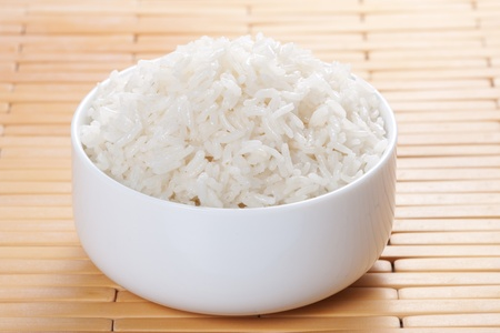 White steamed rice in bowl
