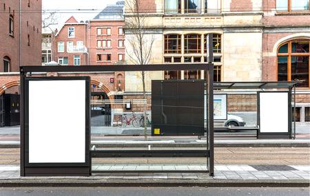 Foto de Blank billboard on a roadside in european town - Imagen libre de derechos