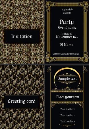 Ilustración de vector illustration of greeting cards invitations in art deco style - Imagen libre de derechos