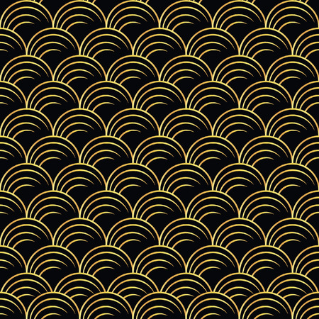 Illustration for vector illustration of golden seamless pattern in art deco style - Royalty Free Image